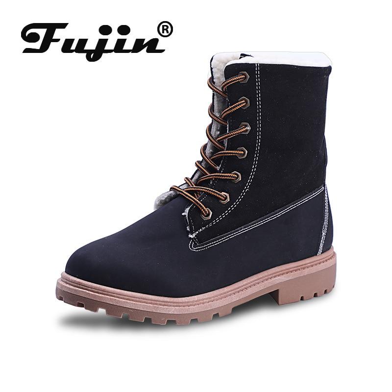Fujin Women Boot Ladies Shoes Mid-Calf Velvet Female Warm Flat Lace-Up Plush Winter No