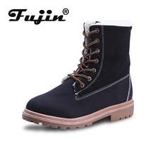 Fujin Women Winter Shoes Snow Boots Mid Calf Plush Fur Velvet Boot Suede Lace Up Ladies Female Warm Flat Booties