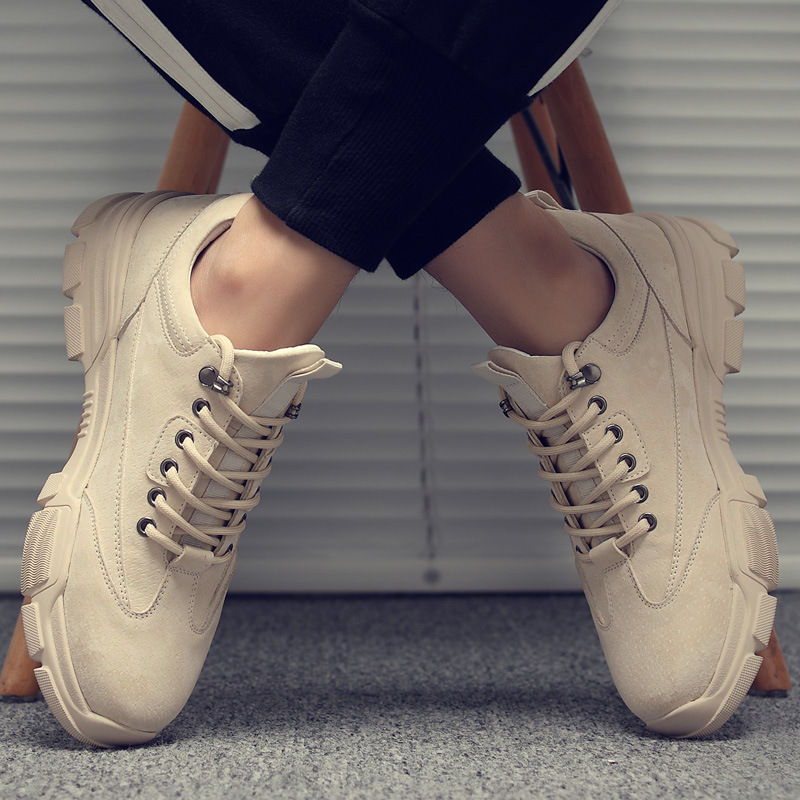 Fashion Spring Men's Boots Casual Low Top Working Boots Lace Up Men's Desert Boots Round Toe Shoes