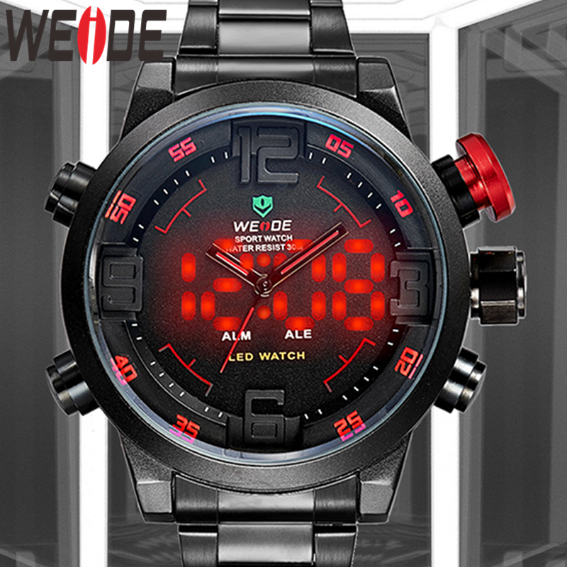 WEIDE Sport Calendar led Digital automatic Date Alarm Military Men Quartz Black Wristwatch Relogio Masculino Clock Chronograph|wristwatch military|wristwatch black|wristwatch band - title=