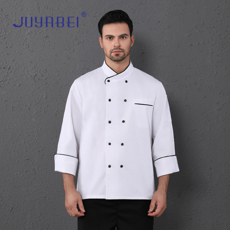 Long Sleeve Chef Uniform Unisex Restaurant Kitchen Cooking Jacket Cafe Hairdressers Salon Barbecue Bakery Waiter Work Shirt