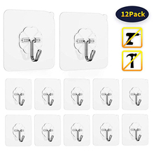 12pcs Strong Seamless Hook Waterproof Transparent Wall Sticker Hanger Glue Hook Storage Rack Free Punching Bathroom Kitchen Tool
