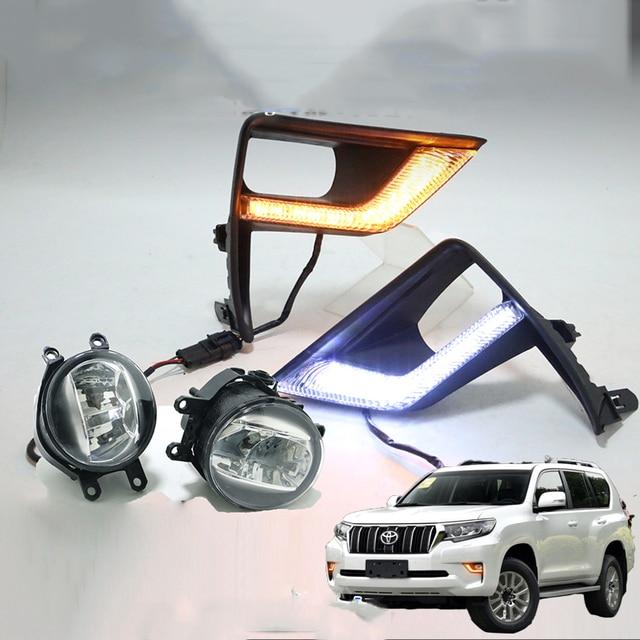 LED Front Fog Lamp Daytime Running Light Turning light 3 function For Toyota Land Cruiser Prado 150 FJ150 2018 2019 Accessories