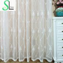 Slow Soul Europe Geometric Embroidered Tulle Curtains For Living Room Bedroom Kitchen Drapes Window Curtain French Custom 3d