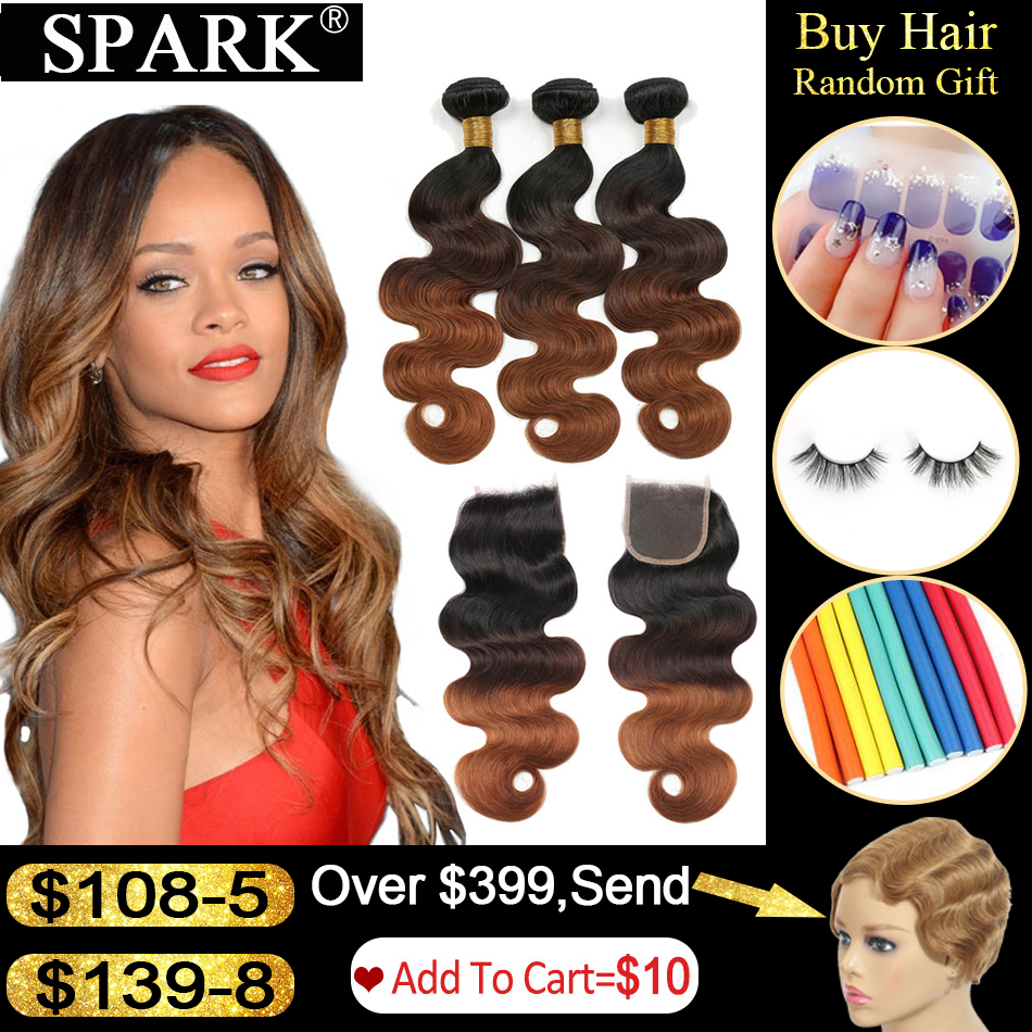 Spark Ombre Brazilian Body Wave Human Hair Bundles With Closure Remy Hair Human Hair Weave 3 Bundles With Closure For Black