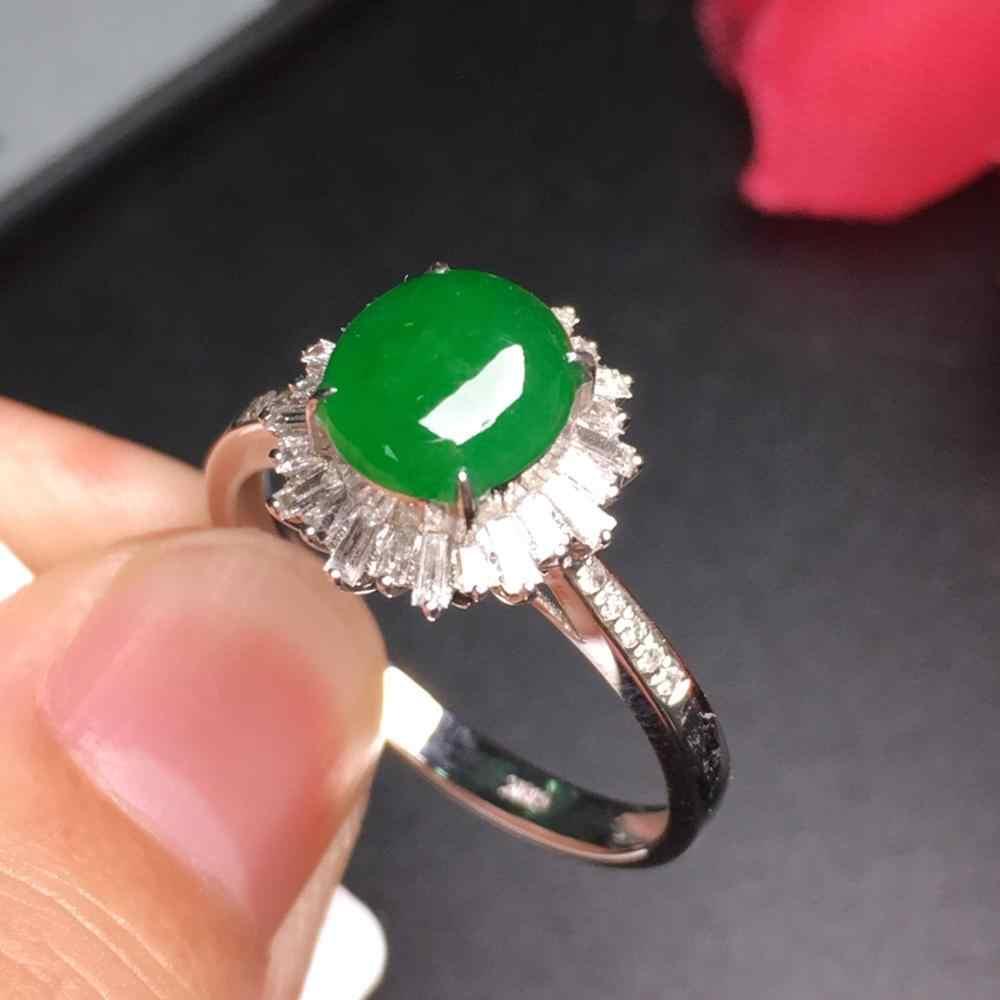 815 18K สีขาว AU750 ธรรมชาติ 100% Myanmer แหล่งกำเนิดสินค้าสีเขียว Jadi หยกรอบแหวนพม่าแหล่งกำเนิดสินค้าสำหรับผู้หญิงของขวัญ