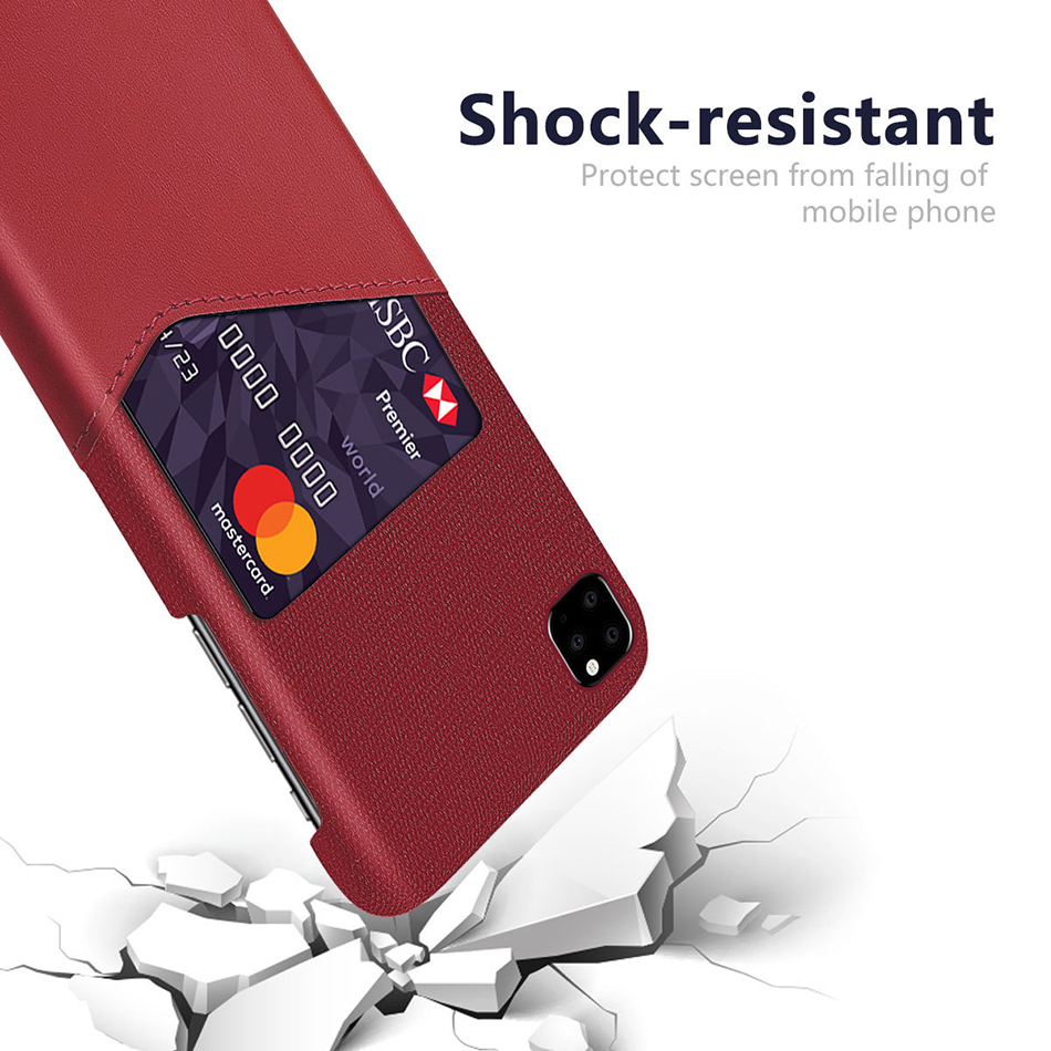 !ACCEZZ Fabric Phone Case For iPhone 11 Pro Max Case Protection Back With Card Pocket Anti-slip Shell Cover Business Coque Capa (11)