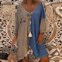 MISSOMO Plus Size 5XL Dress Women vintage Loose Leopard Patc