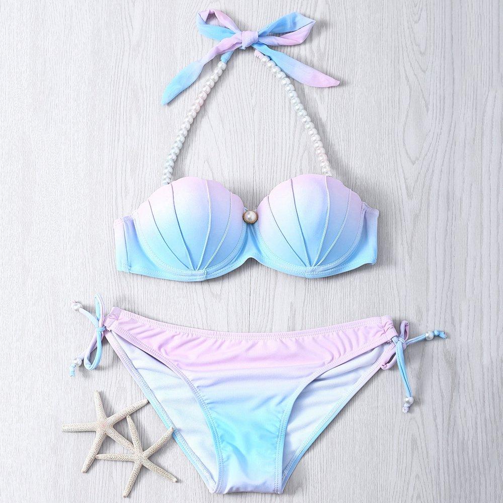 ARXIPA 2020 New Low Waisted Swimsuit Halter Shell Mermaid Swimwear Women Scalloped Bikini Set Bathing Suits Beachwear Swim Suit 2