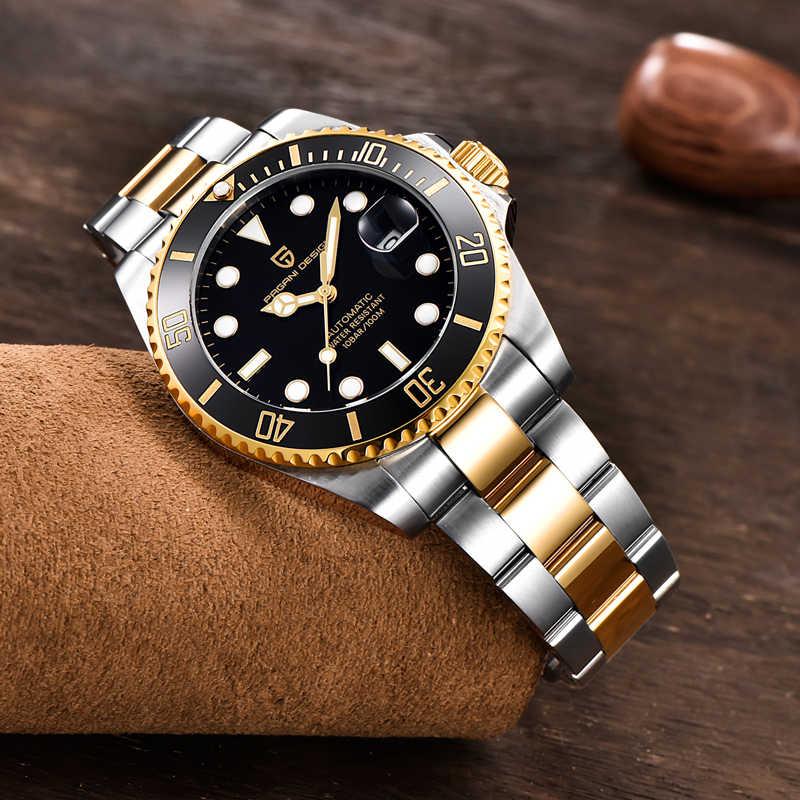 パガーニデザインのメンズ腕時計高級自動機械式時計男性ステンレススチール防水腕時計メンズレロジオmasculino