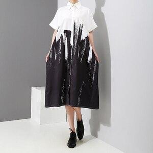 Image 4 - 2020 كم طويل امرأة الخريف أبيض وأسود طباعة قميص فستان التعادل مصبوغ نمط اللوحة حجم كبير ميدي السيدات فستان كاجوال 3400