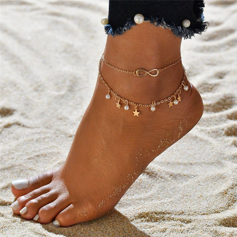 WUKALO New 2 pcs/set Summer Beach Ankle Infinite Foot Jewelry Simulated Pearl Star Anklets ankle bracelets for women