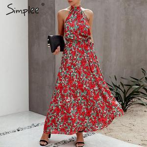 Image 4 - Женское платье с цветочным принтом Simplee размера плюс, без рукавов, с поясом и высокой талией, богемное Макси Платье, повседневные праздничные Вечерние платья на лето