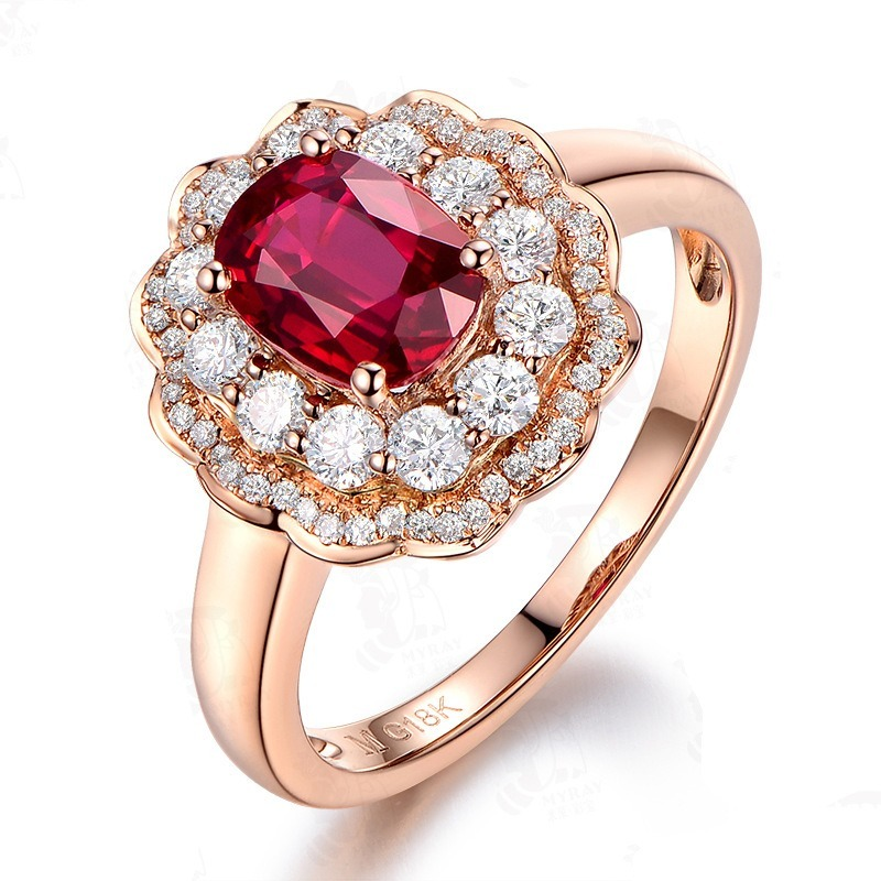 18K Rose Gold Red Ruby Ring For Women 925 Sterling Silver Color Rings Flower Zircon Diamond Engagement Gemstone Fine Jewelry