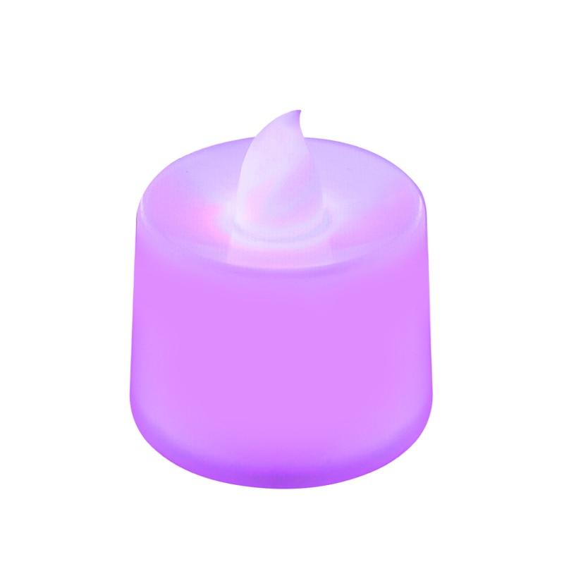 Мерцающий беспламенный светодиодный чайный светильник мерцающий чайный подсвечник вечерние свадебные подсвечники безопасность украшения дома - Цвет: Фиолетовый