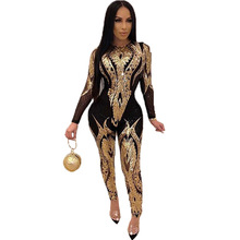 Jumpsuit Women Sequin Silver Plus-Size Rompers Tight Long-Pants Club Party Bodycon Sexy