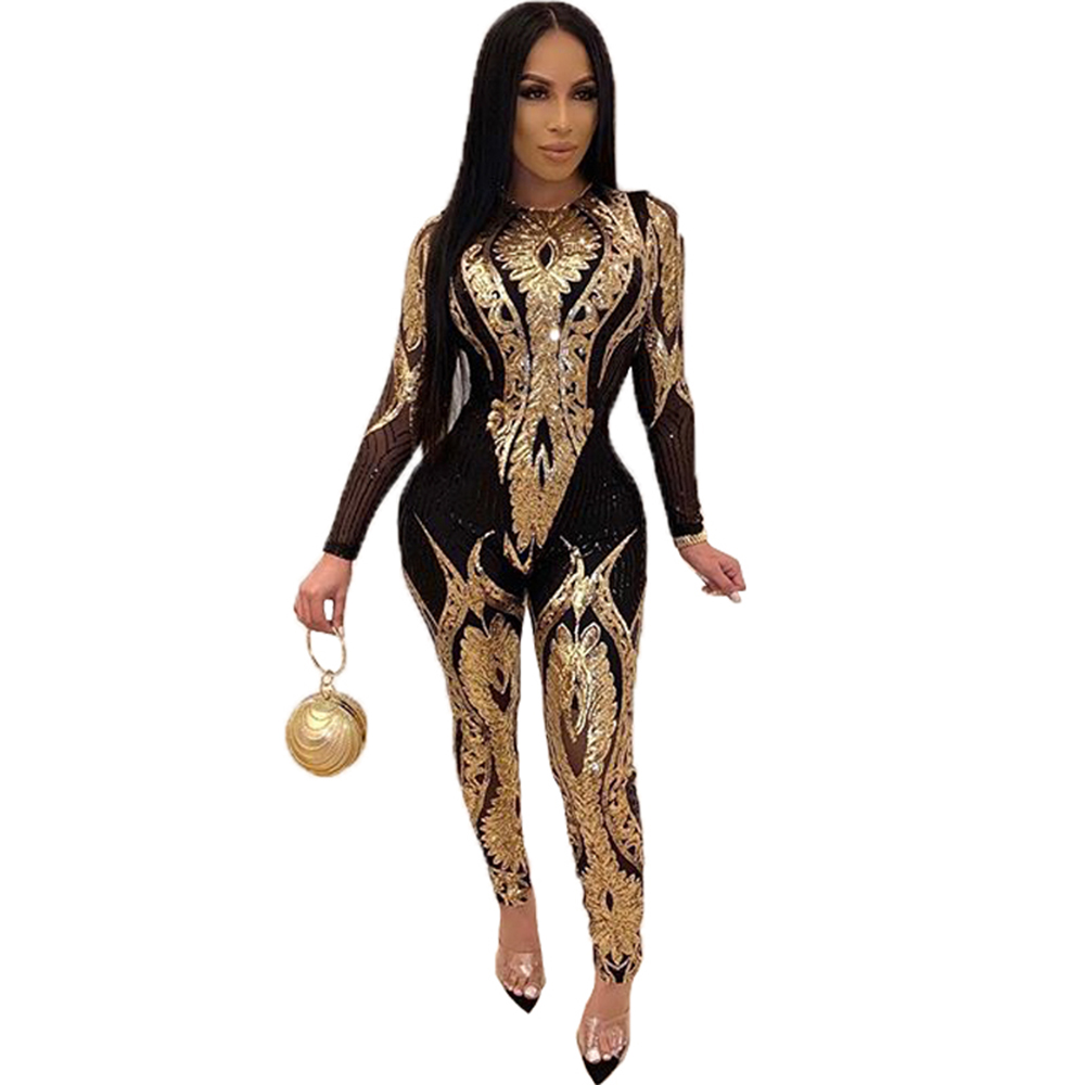 Zuctuo Plus Size Gold Silver Sexy Sequin Bodycon Mesh Jumpsuit Women See Through Party Club Rompers Tight Jumpsuits Long Pants