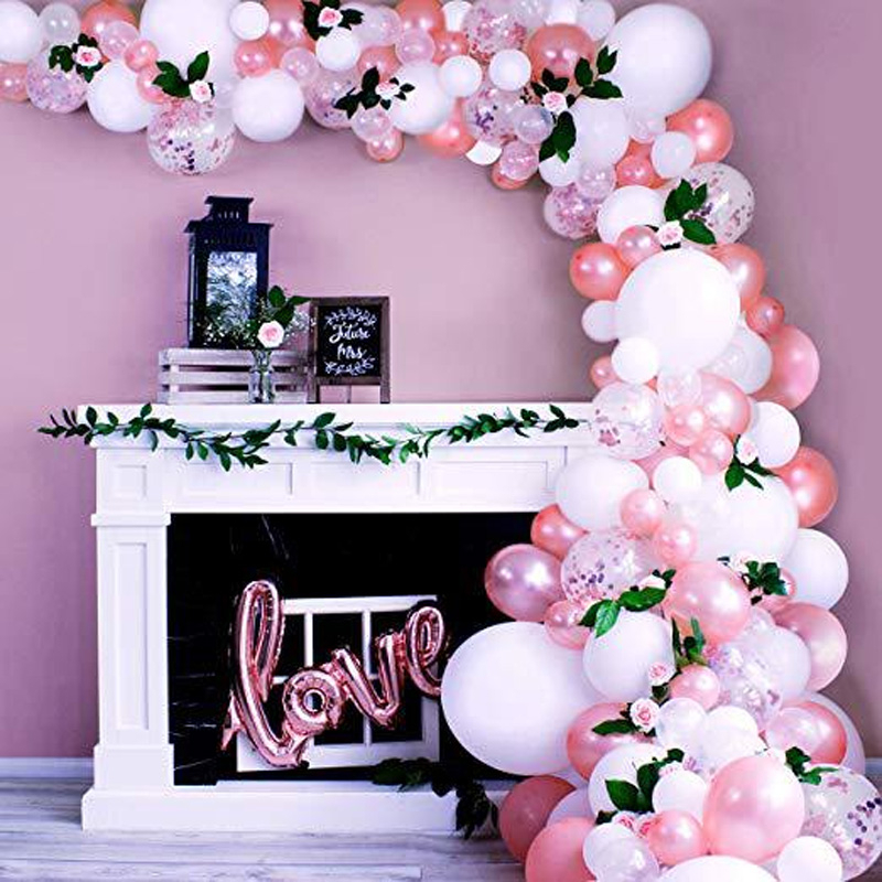 100pcs Balloons Arch Garland Decoration Kits For Wedding Rose Gold Love Foil Ballon Baby Shower Birthday Party Baloon Decor