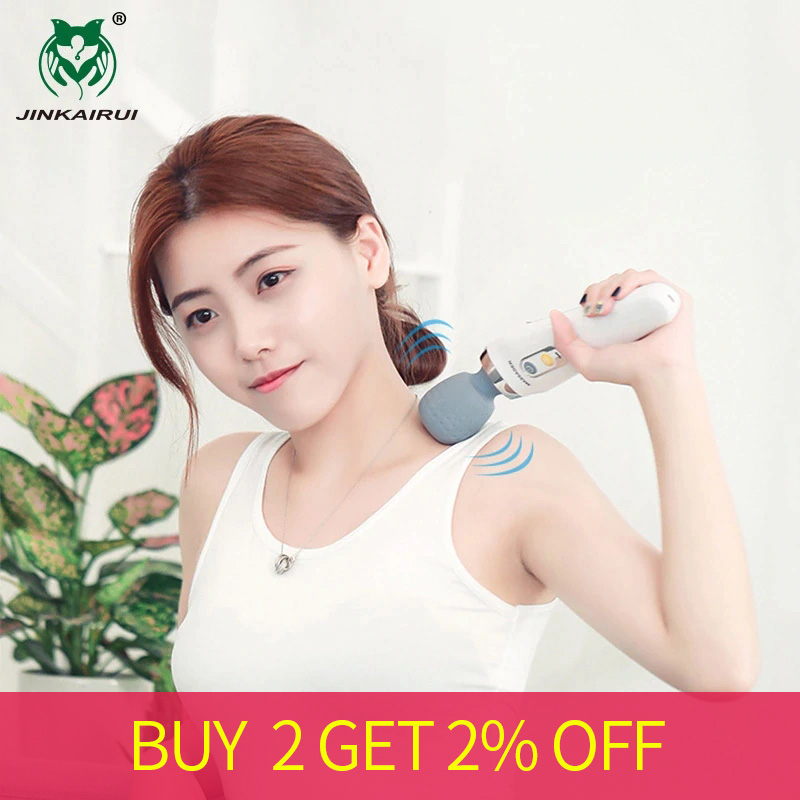 Jinkairui Handheld Electric Wand Massager Vibrating Kneading Cordless Rechargeable For Back Neck Shoulder Full Body Pain Relief