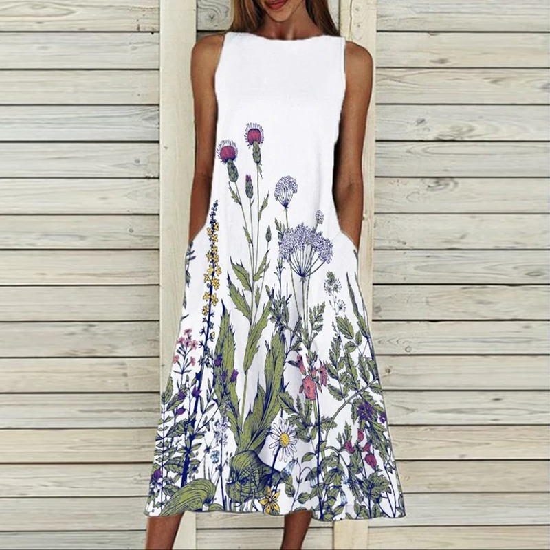 שמלת רטרו הדפסה ללא שרוולים קיץ נשים מזדמנים כיס O-צוואר אלגנטי נשי בתוספת גודל משתה שמלת תוספות אופנה