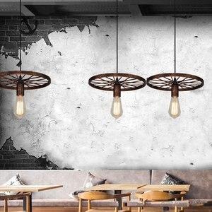 Image 2 - Retro Industrial Wheel Pendant Lights Vintage Bar Dining Room Kitchen Hanging Lamps Iron Art Restaurant Home Deco Light Fixtures