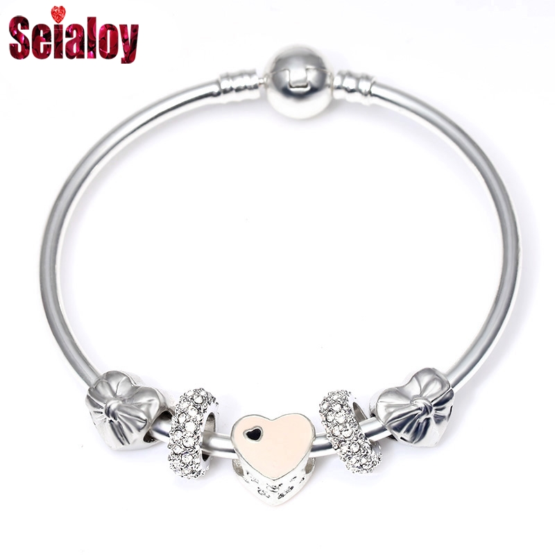 SEIALOY Fashion Pink Heart Charm Bracelets & Bangles With Bowknot Beads Europe Style Brands Bracelet For Women Jewelry Gifts