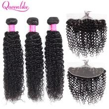 Queenlike mèches malaisiennes non remy naturelles, cheveux frisés bouclés, pre plucked, 13x4, trame avec Frontal