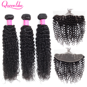 Image 1 - Queenlike mèches malaisiennes non remy naturelles, cheveux frisés bouclés, pre plucked, 13x4, trame avec Frontal