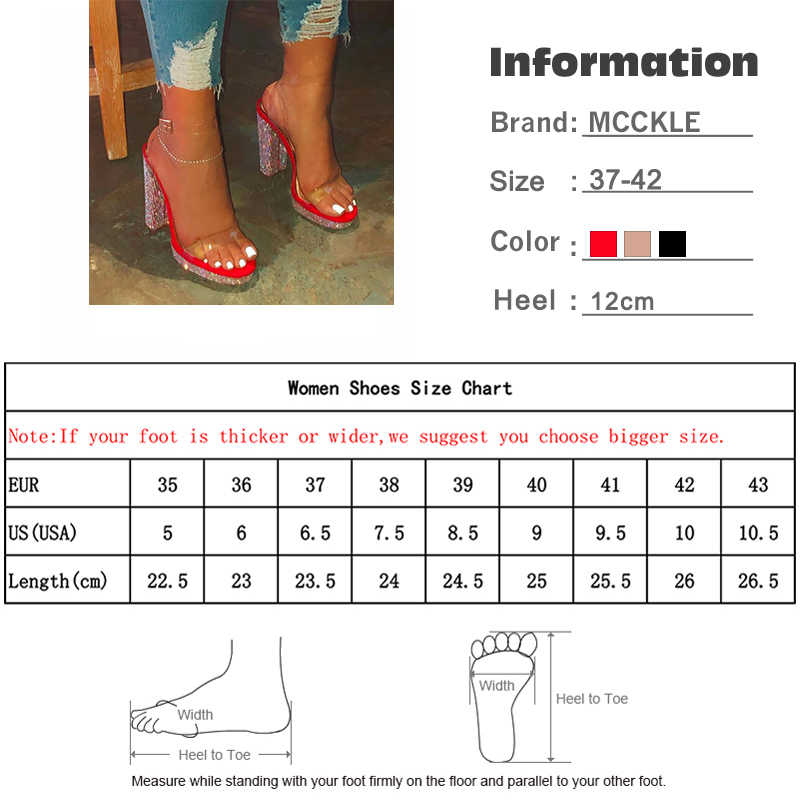 MCCKLE Summer Women 2020 Sandals Gold Bling Woman Ladies Buckle Candy Color Sandalias Feamle Fashion High-heeled Platform Shoes