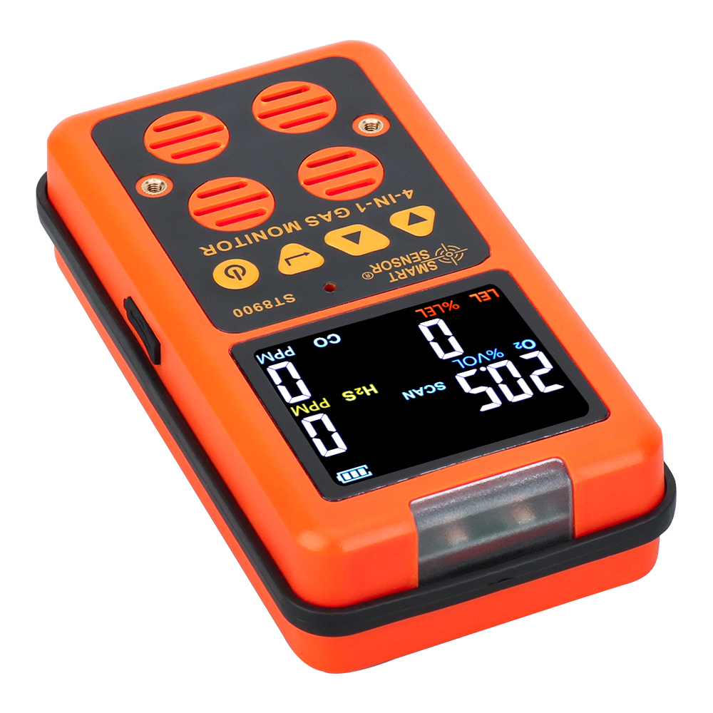 4 in 1 Multi Gas Detector O2 H2S CO LEL Oxygen Hydrogen Sulfide Carbon Monoxide Combustible Gas Monitor Analyzer Leaking Tester