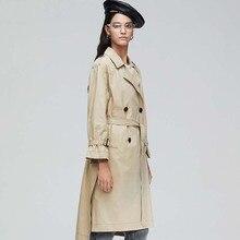 England Style Double Breasted Mid-long Trench Coat Women Casual Slim Belt OL Vintage Windbreaker Outwear