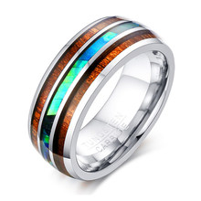 SIZZZ Wholesale 8mm Luxury Tungsten Carbide Ring Blue Fire Opal & Shell Inlay For Men Women Wedding Engagement Ring(China)