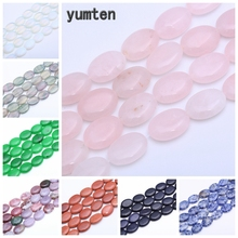 Yumten Oval Rose Quartz  Beads 13mm* 18mm Natural Crystal Loose Braided Bracelets DIY Agate Chalcedony Opal Topaz Jewelry