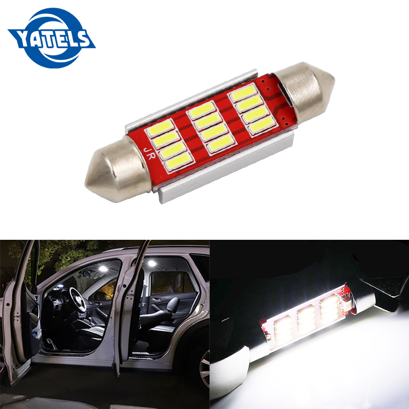 1 PCS Car Decoding Light 31MM 36MM 39MM 41MM 4014 12SMD Roof Light License Plate Light With LED Double-tip Light Car Accessories