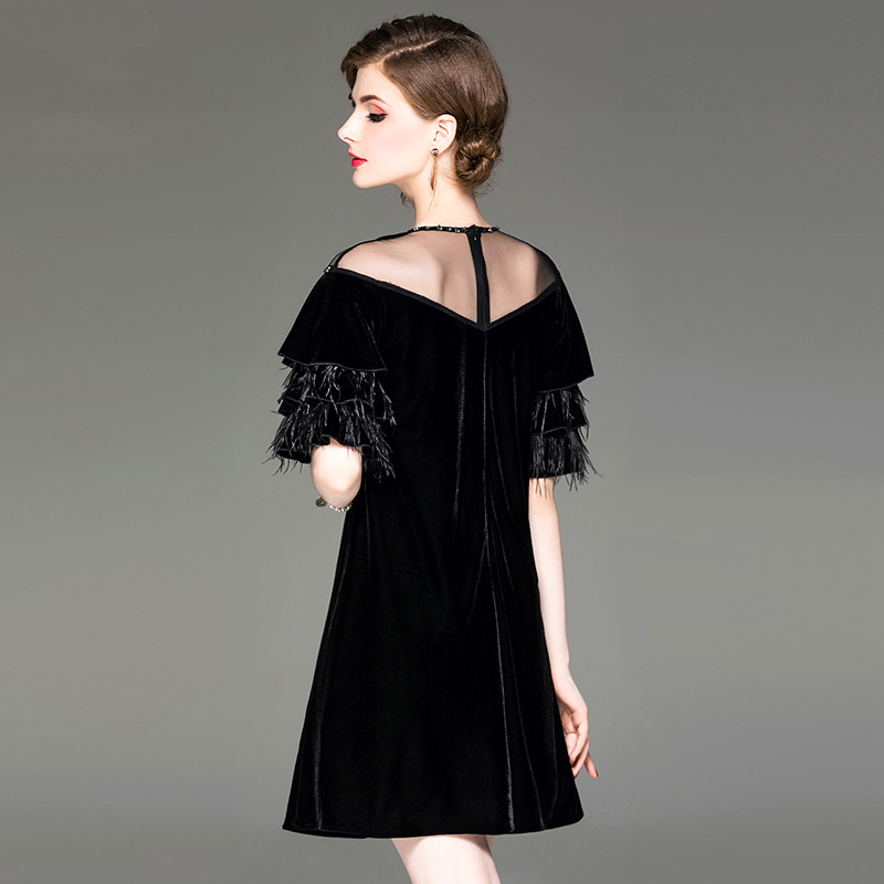 Autumn New Women Beaded Mesh Round Neck Velvet Dress Ostrich Feather Lotus Leaf Sleeve Dresses