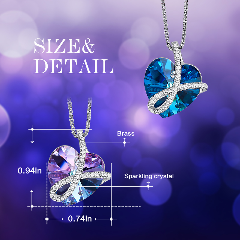 Image 4 - Cdyle Romantic Jewelry LOVE YOU FOREVER Bermuda Blue Crystal Heart Pendant Necklace with Pave Zircon for Her Birthday GiftPendant Necklaces   -