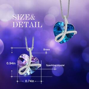Image 4 - Cdyle romantik takı seni sonsuza kadar seveceğim Bermuda mavi kristal kalp kolye kolye açacağı zirkon onun için doğum günü hediyesi
