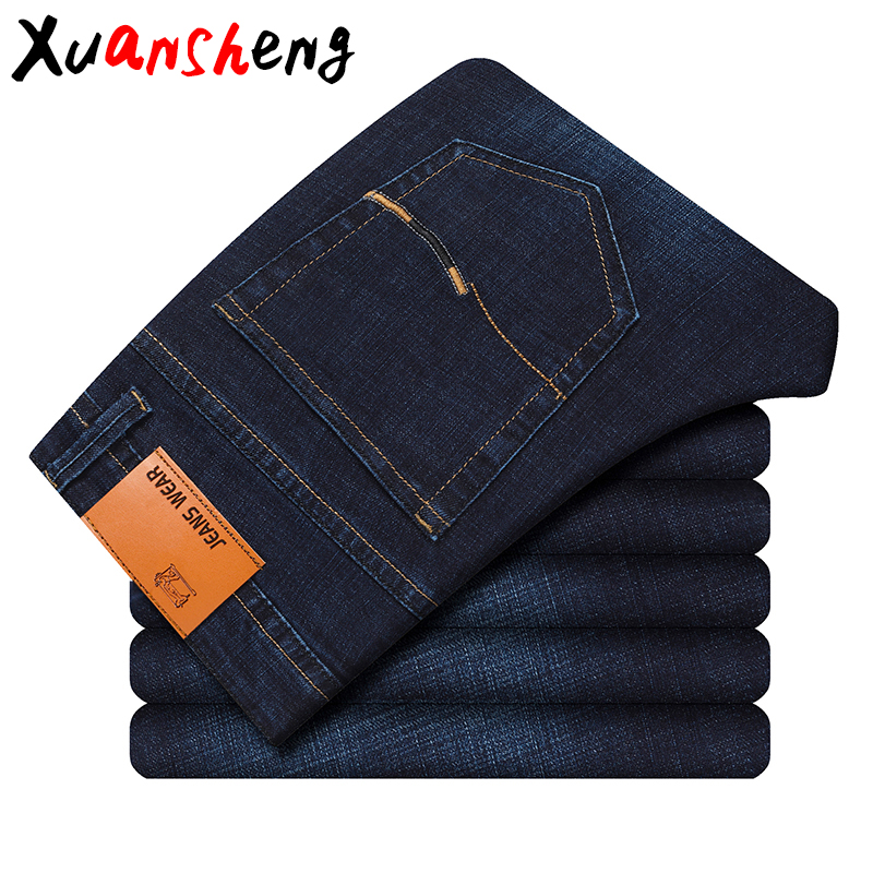 Xuan Sheng Straight Men's Jeans 2019 Simple Stretch Classic Fashion High Waist Loose Casual Slimming Men's Trousers Thick Jeans