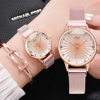2pcs Set Luxury Women Watches Diamond Rose Gold Ladies Wrist Watches Magnetic Women Bracelet Watch For Female Relogio Feminino