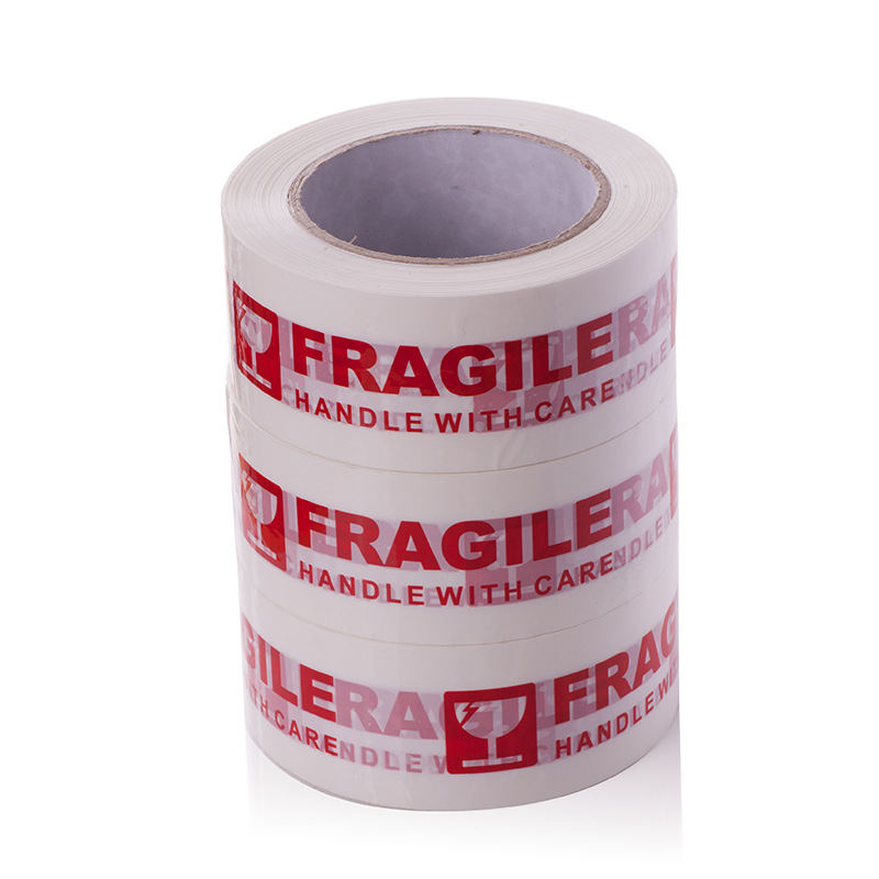 100M*50mm White Fragile Handle With Care White Packing Tape, Warning Bopp Fragile Tapes