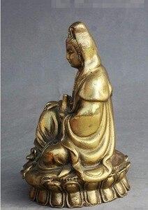 "Image 4 - י""מ 308 סיני בודהיזם פליז לשבת אגרטל משלוח קוואן yin GuanYin הבודהיסטווה אלת פסל"