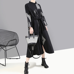 Image 4 - [EAM] 여성 블랙 인쇄 히트 컬러 빈티지 드레스 새로운 옷깃 넥 긴 소매 느슨한 맞는 패션 조수 봄 가을 2020 1A924