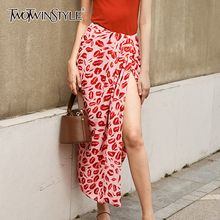 TWOTWINSTYLE Elegant Print Ruched Skirt Women High Waist Side Split Hit Color Se