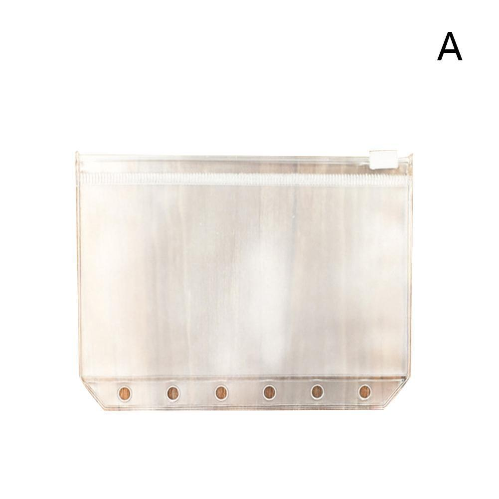 Vividcraft Standard Transparent PVC Clip File Zipper Pouches Bag Bag A6 A7 Collection File 6 Holes Pocker A5 Plastic For Ki N7U8