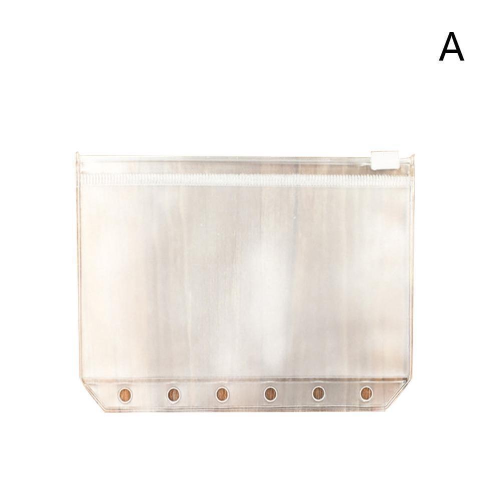 Vividcraft Standard Transparent PVC Clip File Zipper Pouches Bag Bag A6 A7 Collection File 6 Holes Pocker A5 Plastic For Ki N7U8