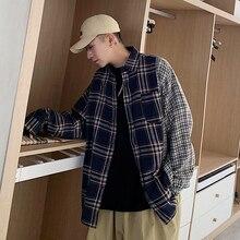 Shirt Plaid Japanese Khaki Korean Men's Single-Breasted Long-Sleeved Cotton Fashion New