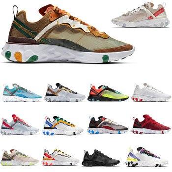 Zapatillas deportivas transpirables React Element 2020 55 87 para hombre, color verde oliva, color rojo Oliva