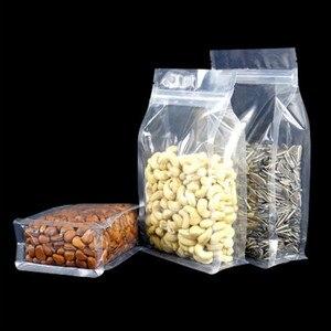 1000 pces levantam-se os malotes plásticos claros do fechamento do fecho de correr do reforço do lado recicláveis do pacote do zíper saco seco da flor petiscos secos da carne varejo doypack