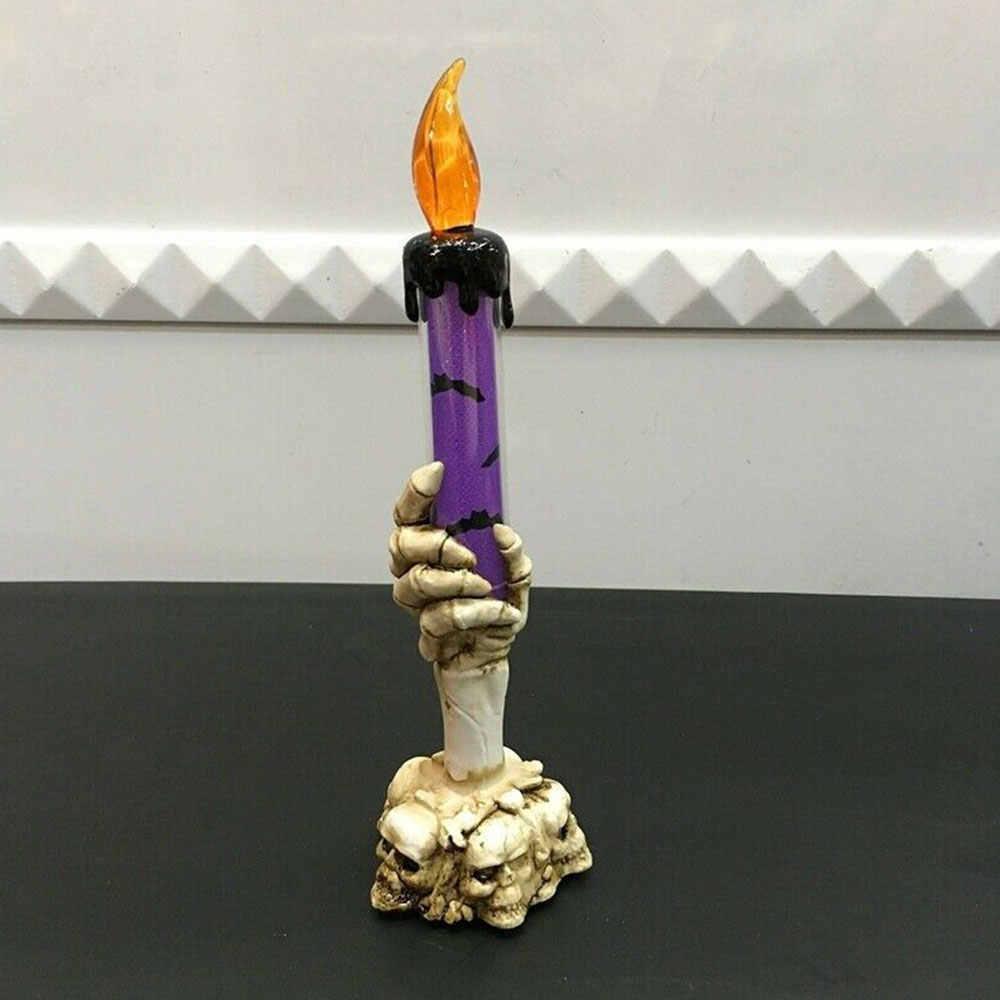 Пластиковый подсвечник с черепом, 3 головки, 2019, вечерние украшения для Хэллоуина, бездымный светодиодный светильник для зала, Скелетон, свечи для дома