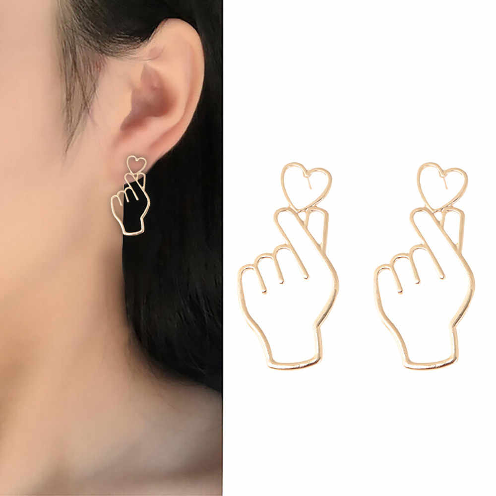 Earings for women 1 Pair Finger Heart Alloy Hollowed Out Love Ear Studs Ornaments Jewelry luxury earring gifts for women